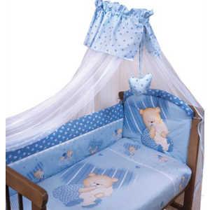 Комплект в кроватку Золотой гусь Мишутка 7 предметов (голубой) 1902