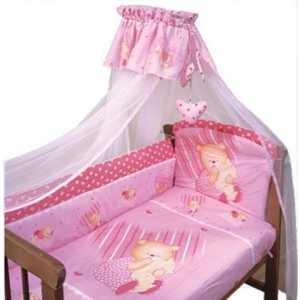 Комплект в кроватку Золотой гусь Мишутка 7 предметов (розовый) 1906 постельный сет 7 предметов золотой гусь сладкий сон розовый