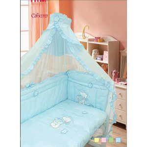Комплект в кроватку Золотой гусь Сабина 7 предметов (голубой) 1412 комплект постельного белья золотой гусь сабина 7 предметов 100% хлопок розовый