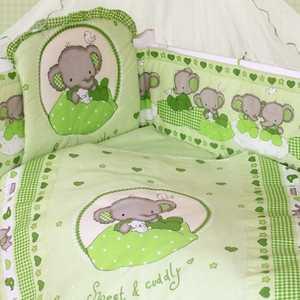 Комплект в кроватку Золотой гусь Слоник Боня 7 предметов (зеленый) 1914 бампер на кроватку bombus светик зеленый