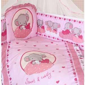Комплект в кроватку Золотой гусь Слоник Боня 7 предметов (розовый) 1916 постельный сет 7 предметов золотой гусь сладкий сон розовый