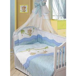 Комплект в кроватку Золотой гусь Улыбка 7 предметов (голубой) 1592 пеленка непромокаемая на резинке золотой гусь однослойная