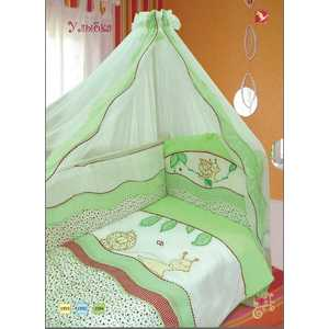Комплект в кроватку Золотой гусь Улыбка 7 предметов (зеленый) 1594 пеленка непромокаемая на резинке золотой гусь однослойная