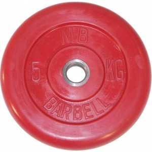 цена на Диск обрезиненный MB Barbell 51мм 5кг красный Стандарт