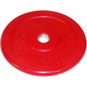цена на Диск обрезиненный MB Barbell 51 мм 25 кг красный Стандарт