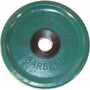 Диск обрезиненный MB Barbell 51 мм 10 кг зеленый Евро-Классик (Олимпийский)