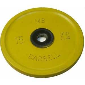 Диск обрезиненный MB Barbell 51 мм 15 кг желтый Евро-Классик (Олимпийский)