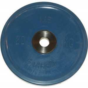 Диск обрезиненный MB Barbell 51 мм 20 кг синий Евро-Классик (Олимпийский) диск обрезиненный евро классик 51 мм 25 кг красный с тройным хватом олимпийский