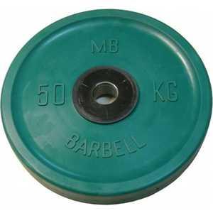 Диск обрезиненный MB Barbell 51 мм 50 кг зеленый Евро-Классик (Олимпийский) диск олимпийский body solid обрезиненный 10 кг зеленый p ro 10k dsa