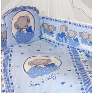 цена на Комплект в кроватку Золотой гусь Слоник Боня 7 предметов (голубой) 1912