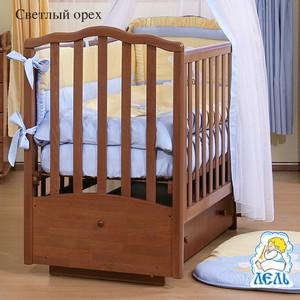 Кроватка Кубаньлесстрой Жасмин поперечный маятник/ящик светлый орех АБ 19.2