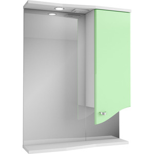 Фото - Зеркало-шкаф Меркана Роман 60 с подсветкой, салатовый (14471) зеркало меркана виттория 82 см 2 шкафа по бокам свет розетка выключатель 27666
