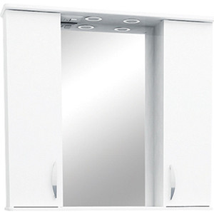 Фото - Зеркало-шкаф Меркана Астра 80 с подсветкой, белый (8348) зеркало меркана виттория 82 см 2 шкафа по бокам свет розетка выключатель 27666