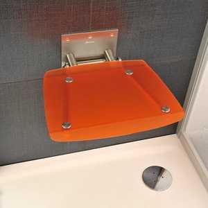 Сиденье для душа Ravak Ovo B Orange откидное, полупрозрачное, оранжевое (B8F0000017)