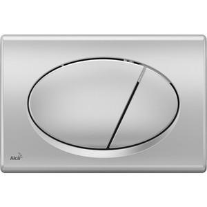 Кнопка смыва AlcaPlast матовый хром (M72)