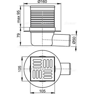 Душевой трап AlcaPlast 105х105/50 подводка боковая, нержавеющая сталь, гидрозатвор мокрый (APV1)