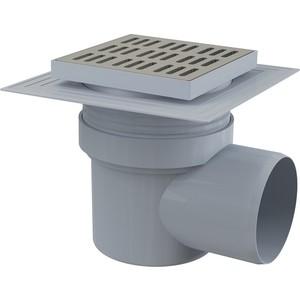 Душевой трап AlcaPlast 150х150/110 подводка боковая, нержавеющая сталь, гидрозатвор мокрый (APV12)
