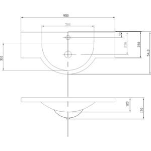 Раковина мебельная Акватон Лацио 95 см (1A702031LC010) раковина мебельная акватон акваполо 65 см 1wh110162