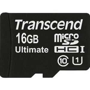 Карта памяти Transcend microSD 16GB Class 10 UHS-I Ultimate (SD адаптер) (TS16GUSDHC10U1)