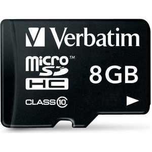 Verbatim microSD 8GB Class 10 (SD адаптер) (44081)