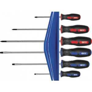 Набор отверток FIT 6шт CrV прорезиненная ручки на держателе (56041) отвертки часовые skrab 41172 набор 6шт