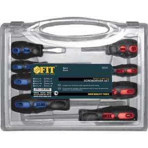 Набор отверток FIT 8шт CrV прорезиненная ручки в чемоданчике (56042)