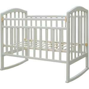 Кроватка Антел Алита-2 колесо/качалка белый