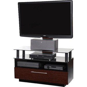 Тумба под телевизор Allegri Бриз 2 800 с плазмастендом красная вишня каркас черный стекло черное