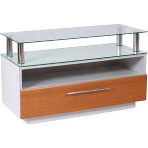 Тумба под телевизор Allegri Бриз 2 1250 желтая вишня каркас белый стекло прозрачное