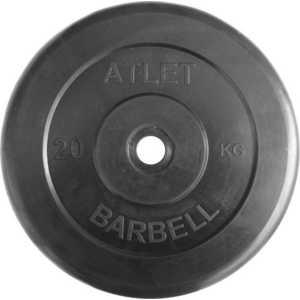 Диск обрезиненный Atlet 26 мм 20 кг черный диск обрезиненный atlet 31 мм 10 кг черный
