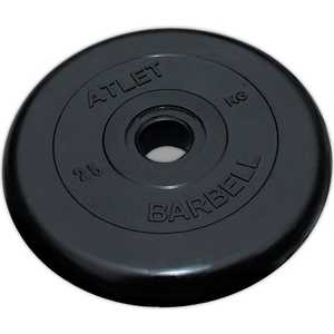Диск обрезиненный Atlet 26мм 25кг черный