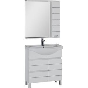 Мебель для ванной Aquanet Доминика 80 с бельевой корзиной, белый