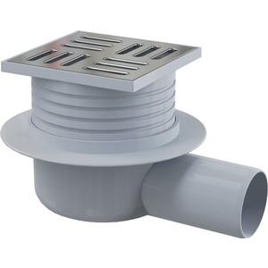 Душевой трап AlcaPlast 105х105/50 подводка боковая, нержавеющая сталь, гидрозатвор мокрый (APV26)