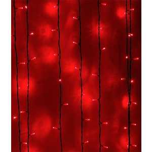 Light Светодиодный занавес красный 2x2 прозрачный провод.(мерц.)