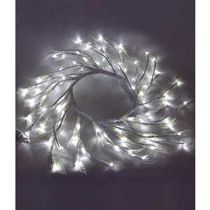 Светодиодная композиция Light Венок с прозрачными листьями белый 50 см