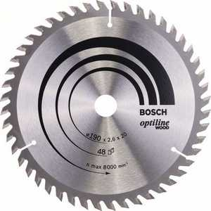 Диск пильный Bosch 190х20мм 48зубьев Optiline Wood (2.608.640.614) bosch 190х30мм 48зубьев expert for wood 2 608 644 049