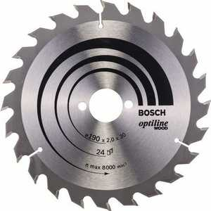 Диск пильный Bosch 190х30мм 24зуба Optiline Wood (2.608.641.185) bosch 190х30мм 48зубьев expert for wood 2 608 644 049