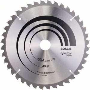Диск пильный Bosch 254х30мм 40зубьев Optiline Wood (2.608.640.435) диск пильный prorab 250х16мм 40зубьев pr0642