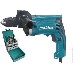 Фото - Дрель ударная Makita HP1631KX2 + набор сверл (D-46202) набор сверл makita d 08660 9шт металл дерево бетон