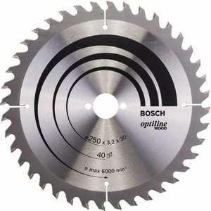 Диск пильный Bosch 250х30мм 40зубьев Optiline Wood (2.608.640.728) диск пильный prorab 250х16мм 40зубьев pr0642