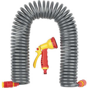 Набор поливочный Grinda 3/8 (9.5мм) 15м с фитингами и пистолетом (428495) катушка fiskars со шлангом 3 8 15м набор коннекторов