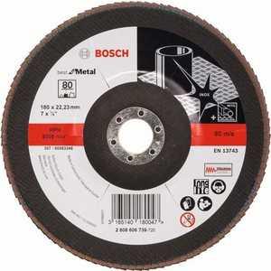 Круг лепестковый торцевой Bosch 180х22.2мм K80 Best for Metal (2.608.606.739)