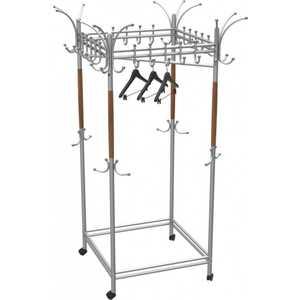 купить Вешалка гардеробная на колесах Мебелик Галилео 216 металлик /средне-коричневый по цене 16320 рублей