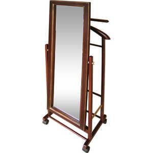 Вешалка костюмная с зеркалом на колесах Мебелик В 24Н средне-коричневый