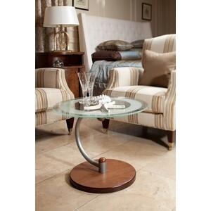купить Стол журнальный Мебелик Дуэт 13Н металлик/средне-коричневый/прозрачное по цене 6900 рублей