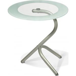 купить Стол журнальный Мебелик Дуэт 5 металлик/прозрачное по цене 3550 рублей