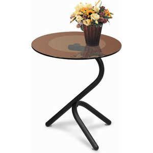 купить Стол журнальный Мебелик Дуэт 5 чёрный/тонированное по цене 3550 рублей