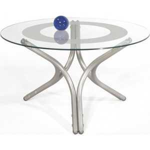 купить Стол журнальный Мебелик Дуэт 6 металлик/прозрачное по цене 7750 рублей