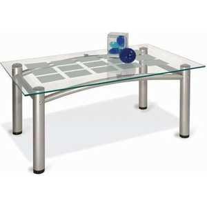 Стол журнальный Мебелик Робер 3М металлик/прозрачное стол журнальный мебелик квартет 13 средне коричневый прозрачное