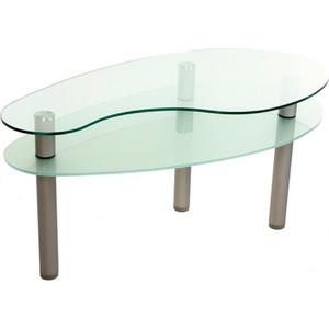 Стол журнальный Мебелик модель Капля серебро/прозрачное